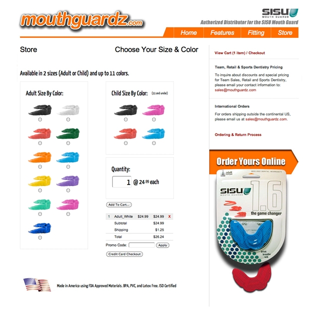 mouthguardz.com store and cart (640 pixels)